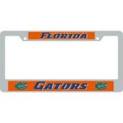 Florida Gators Metal Licence Plate Frame W/domed Insert - Orange Background