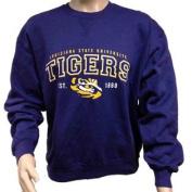LSU Tigers Purple Gold White Long Sleeve Pullover Sweatshirt