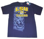 LSU Tigers Champion Purple Burn Out Dual Logo 100% Cotton T-Shirt