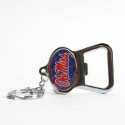 "Mississippi ""Ole Miss"" Rebels Metal Key Chain And Bottle Opener W/domed Insert - Blue Background"