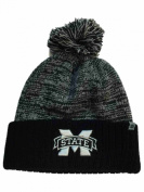 Mississippi State Bulldogs TOW Black Grey Dense Cuffed Beanie Hat Cap w/ Poof