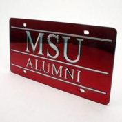 Mississippi State Bulldogs Alumni Inlaid Acrylic Licence Plate - Red Mirror Background