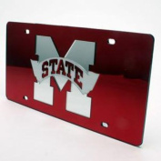 Mississippi State Bulldogs Inlaid Acrylic Licence Plate - Red Mirror Background