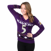 Baltimore Ravens Joe Flacco #5 Womens V Neck Glitter Sweater Size XL w/ Priority Shipping