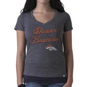 Denver Broncos 47 Brand Women's Grey V-Neck Short Sleeve T-Shirt