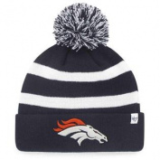 Denver Broncos 47 Brand Navy Breakaway Knit Cuffed Beanie Poofball Hat Cap