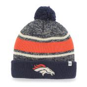 Denver Broncos Tri-Tone Fairfax Cuffed Knit Poofball Beanie Hat Cap
