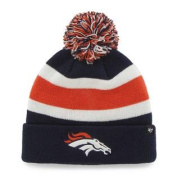 Denver Broncos 47 Brand Tri-Tone Breakaway Cuff Beanie Poofball Hat Cap