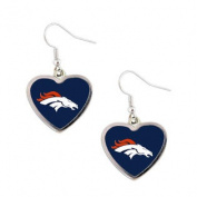 Denver Broncos NFL Sports Team Logo Heart Shape French Hook Style Charm Dangle Earring Set