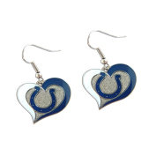 Indianapolis Colts NFL Sports Team Logo Swirl Heart Shape French Hook Style Charm Dangle Earring Set