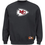 Kansas City Chiefs Majestic Classic Heavyweight VI Pullover Crew Sweater – Charcoal- Big and Tall