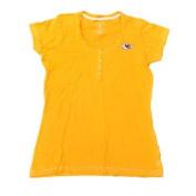 KC Chiefs Women Yellow 1/4 Button Up Short Sleeve Dazzled T-Shirt