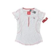 Kansas City Chiefs Antigua Women Grey Red 1/3 Zip-Up Short Sleeve T-Shirt
