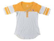 Kansas City Chiefs Antigua Women Yellow Grey 1/4 Lace-Up Half Sleeve T-Shirt