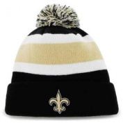 New Orleans Saints 47 Brand Tri-Tone Breakaway Cuffed Beanie Poofball Hat Cap