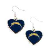 San Diego Chargers NFL Sports Team Non-Swirl Heart Shape Dangle Earring Charm Jewellery Pendant