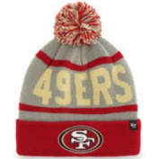San Francisco 49ers 47 Brand Red Grey Rubble Knit Cuff Beanie Cap Poofball