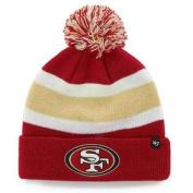 San Francisco 49ers 47 Brand Tri-Tone Breakaway Cuffed Beanie Poofball Hat Cap