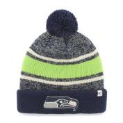 Seattle Seahawks Tri-Tone Fairfax Cuff Knit Poofball Beanie Hat Cap