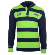 Seattle Seahawks KLEW Forever Collectibles Rugby Style Pullover Hoodie Shirt w/ Priority Shipping