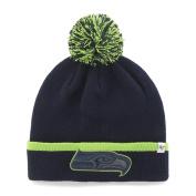 Seattle Seahawks Navy Green Baraka Knit Cuffed Poofball Beanie Hat Cap