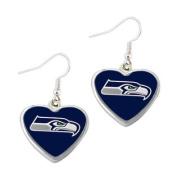 Seattle Seahawks NFL Sports Team Non-Swirl Heart Shape Dangle Earring Charm Jewellery Pendant