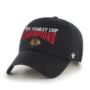 Chicago Blackhawks 2015 NHL Stanley Cup 6x Champions Black 47 Brand Adj Hat Cap