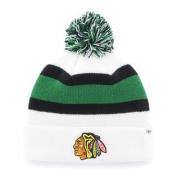 Chicago Blackhawks White Black Green Knit Cuff Breakaway Beanie Hat Cap