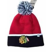 Chicago Blackhawks Red Black Baraka Knit Cuffed Poofball Beanie Hat Cap
