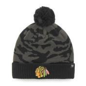 Chicago Blackhawks 47 Brand Charcoal Black Twenty Nine Cuffed Beanie Hat Cap