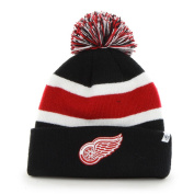 Detroit Red Wings Black Breakaway Knit Cuffed Poofball Beanie Hat Cap