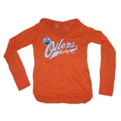 Edmonton Oilers Women Orange Translucent V-Neck Long Sleeve T-Shirt
