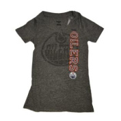 Edmonton Oilers Women Grey Faded Logo V-Neck Tri-Blend T-Shirt
