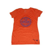 Edmonton Oilers Women Orange Beaded Logo Capped Sleeve T-Shirt