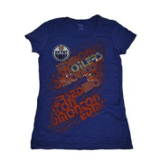 Edmonton Oilers Women Blue Multi Logo Short Sleeve T-Shirt