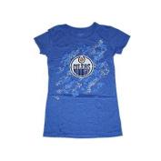Edmonton Oilers Women Blue Rhinestone Logo Capped Sleeve T-Shirt