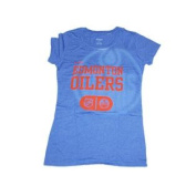 Edmonton Oilers Women Blue Big Logo Capped Sleeve T-Shirt