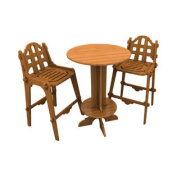 Outdoor Palladian Bar Furniture Set with High Top Table and 2 Chairs
