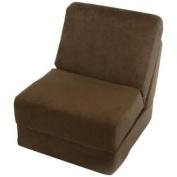 Fun Furnishings Teen Chair with Pillow, Brown Micro Suede