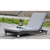 Modern Home Solana Woven Rattan Lounger - Brushed Grey