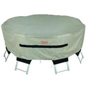 Prairie Premium Round Table/Chair Set Cover, Medium, Tan