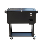 Outsunny B2-0011 Rolling Ice Chest Portable Patio Party Drink Cooler Cart, 75.7l, Black