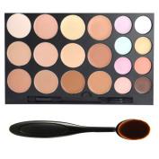 DE'LANCI Professional 20 Colours Face Cream Concealer Camouflage Foundation Contour Makeup Palette Kit Set with Premium Oval Make Up Brush