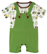 Stephan Baby Romper/Overall-Style Down on The Farm Tractor Nappy Cover, Green/White/Yellow, 6-12 Months