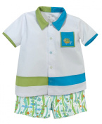 Stephan Baby Go Fish Bowling Shirt and Fishie Print Nappy Cover, 6-12 Months