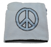 Little Beginnings Peace Sign Baby Blanket Blue