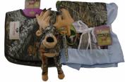 Mossy Oak Premium Camouflage Baby Boy Boxed Set - Blanket, Bibs and Whitetail Deer Plush Stuffed Animal