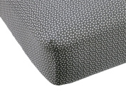Lavender Poppy Slate & White Dot Crib Fitted Sheet by Balboa Baby