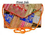 Designer Handcrafted Women Jari Embroidered Patchwork Clutch Bag Clutch Purse for Girls