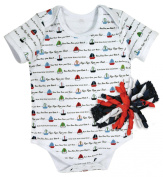 Stephan Baby Row Your Boat Snapshirt-Style Nappy Cover and Curly Bow Headband Gift Set, White/Red/Blue, 3-6 Months
